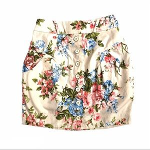River Island Floral Buttons Cotton Mini Skirt 4-6